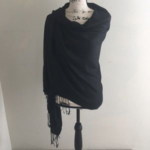 Black Coldwater Creek Knotted Tassel Wrap